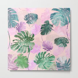 Tropical on Pink Metal Print