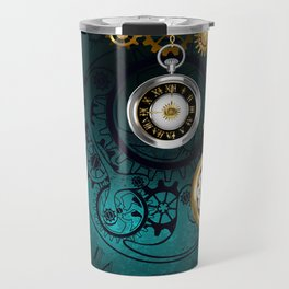 Clock with Gears on Green Background ( Steampunk ) Travel Mug