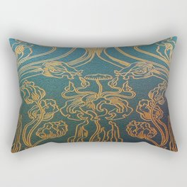 Art Nouveau,teal and gold Rectangular Pillow