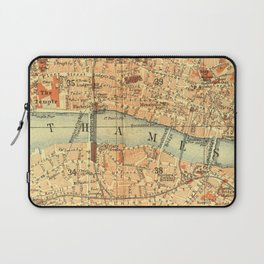 Vintage Map London South Bank Thames Laptop Sleeve