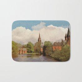 The Lake of Love Bruges art Bath Mat