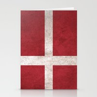 denmark Stationery Cards featuring Denmark Flag (Vintage / Distressed) by Patterns