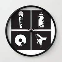 hiphop Wall Clocks featuring Style HipHop by Gold Blood