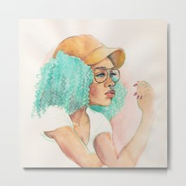 Minty Curls Don't Care Metal Print