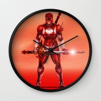 power ranger Wall Clocks featuring Red Ranger by Isaiah K. Stephens
