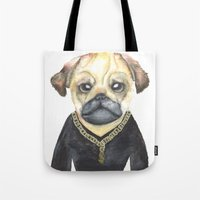 gangster Tote Bags featuring Dog Gangster by Lucie Sperry