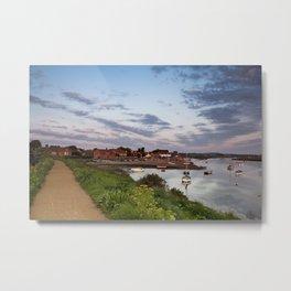 Boats and coastal path at sunrise. Burnham Overy Staithe, North Norfolk Coast, UK Metal Print
