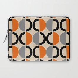 Mid Century Modern Half Circle Pattern 548 Beige Black Gray and Orange Laptop Sleeve