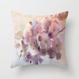 Vintage Beauty, Flower Blossoms Throw Pillow
