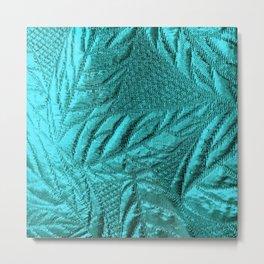 Turquoise Leaves Metal Print