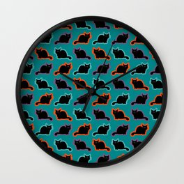 Curious cat pattern Wall Clock