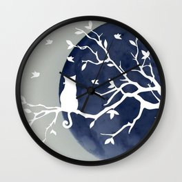 Blue moon | Dark moon | Cat on tree branch | Witchy cat | Wicca Wall Clock