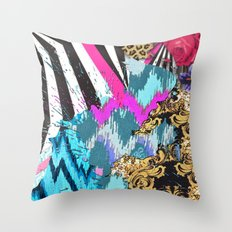 Fashion | Chic aztec pink teal zebra stripes leopard pattern Throw Pillow