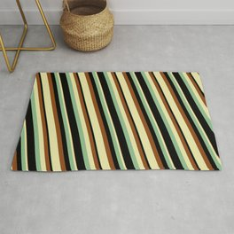 Dark Sea Green, Black, Brown, and Pale Goldenrod Colored Lined Pattern Rug