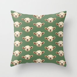 Sweet Lamb in the Barnyard Throw Pillow