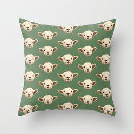 Sweet Lamb in the Barnyard Throw Pillow