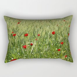 Red Poppies Growing In A Corn Field  Rectangular Pillow