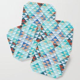 Triangle Pattern No.10 Shifting Turquoise and Orange Coaster