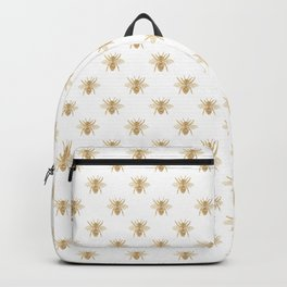 Gold Metallic Faux Foil Photo-Effect Bees on White Backpack