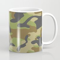 military Mugs featuring Green Military Camouflage Pattern by SW Creation