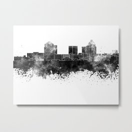 Greensboro skyline in black watercolor Metal Print