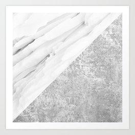 Grey / White Marble Art Print