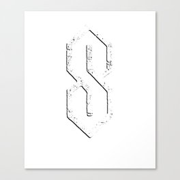 Super Cool S Grade School S 6 lines angle pointy S Canvas Print