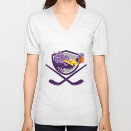 Dragon Fire Ball Hockey Stick Crest Retro Unisex V-Neck