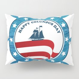 Columbus Ship steering wheel - Happy Columbus Day Pillow Sham