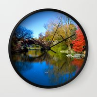 central park Wall Clocks featuring Central Park by Davide Carnevale