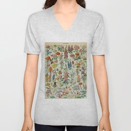 Flowers Vintage Scientific Illustration French Language Encyclopedia Lithographs Educational Unisex V-Neck