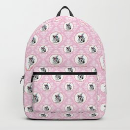 Alice in Wonderland | The Herald of the Court of Hearts | White Rabbit | Pink Damask Pattern | Backpack