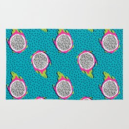 Dragonfruit retro style pattern tropical fruits vegan art print exotic throwback 80s Rug
