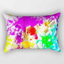 pyramid building and modern building exterior at San Francisco, USA with colorful painting abstract Rectangular Pillow