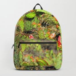 green cactus with red and yellow flower texture background Backpack