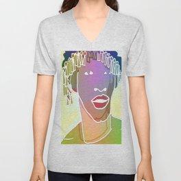 Ebony Purple Headdress White Unisex V-Neck