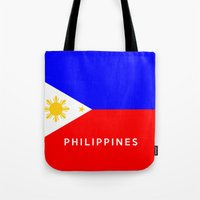 philippines Tote Bags featuring flag of Philippines by tony tudor