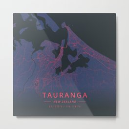 Tauranga, New Zealand - Neon Metal Print