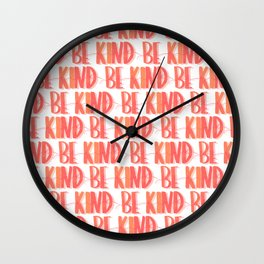 Be Kind Peach Pattern Wall Clock