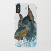 doberman iPhone & iPod Cases featuring Blue Doberman by Parmelyn