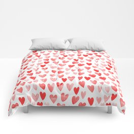 Watercolor heart pattern perfect gift to say i love you on valentines day Comforters