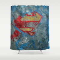 superman Shower Curtains featuring Superman by Fernando Vieira