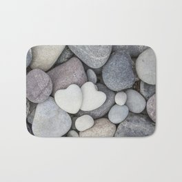 Heart Pebble Stone Mineral Love Symbol Bath Mat