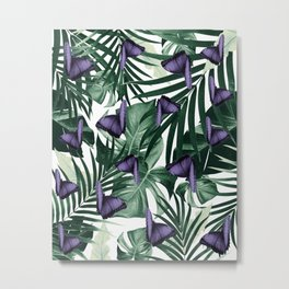 Tropical Butterfly Jungle Leaves Pattern #4 #tropical #decor #art #society6 Metal Print