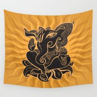 hindu Wall Tapestries featuring Hindu God Ganesha by Smyrna