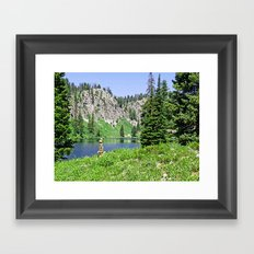 Statue by the Lake Framed Art Print