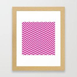 Hot Pink Herringbone Pattern Framed Art Print
