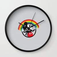 mickey Wall Clocks featuring Mickey Rainbow by Erik Sandi Satresa