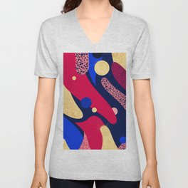 Psychedelic terrazzo galaxy blue night gold red Unisex V-Neck