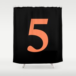 5 (CORAL & BLACK NUMBERS) Shower Curtain